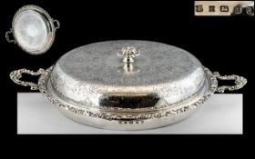 A Heavy Round Silver Cast Georgian Style Lidded Tureen of robust form,