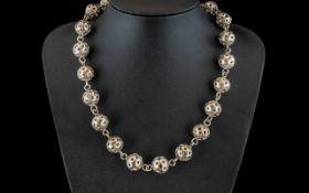 Unusual Antique Necklace In Silver.
