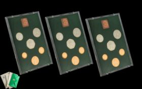 Three Royal Mint Proof Sets 1975 Coinage of Great Britain and Northern Ireland