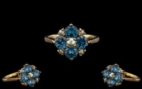 Antique Period Ladies - Attractive 18ct Gold Aquamarine and Seed Pearl Set Cluster Ring.