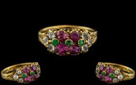 Antique Period Wonderful 15ct Gold - Exquisite Rubies / Emeralds / Diamonds Set Ring.