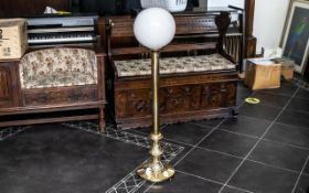 1 x Brass Floor Lamp with White Gold Shade. 90 cms In Height.