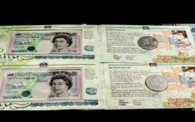 The Royal Mint and Bank of Scotland £5 Set, two sets in total, lovely quality throughout