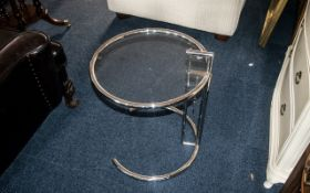 """An Eileen Gray Chrome and Glass Retro Side Table with round glass top and adjustable height - 24"""" x"""