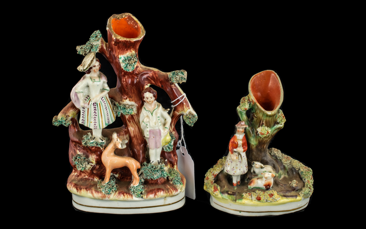 19th Century Staffordshire Figure Groups. 2 Figure Groups In Total. The Largest Being 6.5 Inches.