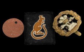 Desert Rat Badge, South Lancashire badge, J Cookson,W.E.S. COLDM. GDS dog tag No. 21342.