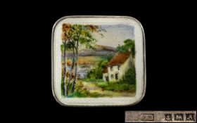 Vintage - Sterling Silver Square Shaped Brooch - Pendant with Hand Painted Enamel Scene Depicting a