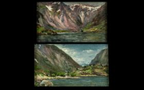 John Drummond Moore (Australian - 1888 - 1958) x 2 Impressionist Views of Norway Oil on Wood Panel