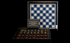 Franklin Mint Battle of Waterloo Chess Set, in fitted case, complete with all certificates.