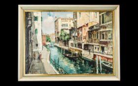 Venetian Canal Scene Oil on Canvas,