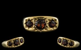 Antique Period - Pleasing 3 Stone Fire Garnet Set Ring. Marked 9ct to Interior of Shank.