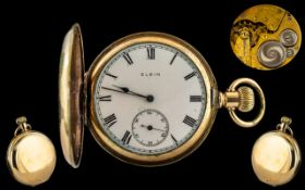 Elgin National Watch Co. Gold Filled Keyless Full Hunter Pocket Watch, guaranteed to be of two