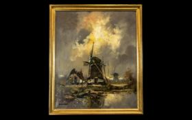 Dutch Oil Painting on Canvas Depicting a Windmill in a landscape,