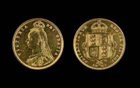 Queen Victoria - Jubilee 22ct Gold - Shield Back Young Head Half Sovereign. London MInt - Date 1887.