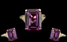 Ladies 18ct Rose Gold Stunning Single Stone Amethyst Emerald Cut Ring,