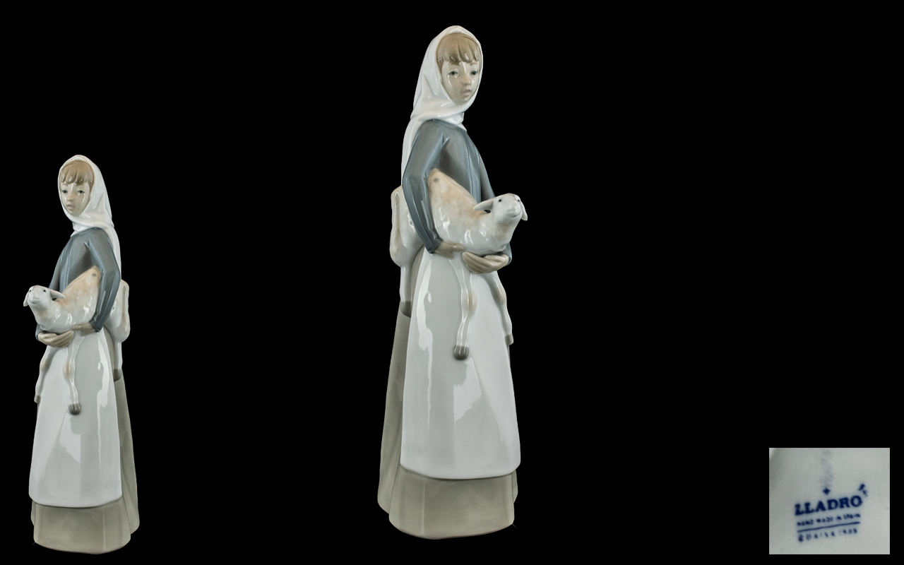 Lladro Figure ''Girl with Lamb'' #4504 Height 11 inches