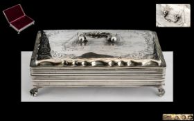 French - 19th Century Solid Silver Ladies Dressing Table Trinket Box with Ornate Handle and Borders,
