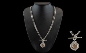 Victorian Period Superb Sterling Silver Double Albert Chain of Long Length with T-Bar and Attached