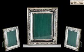 Elizabeth II Sterling Silver Photo Frame with Celtic Style Border, Suede Back. Hallmark London 1975.