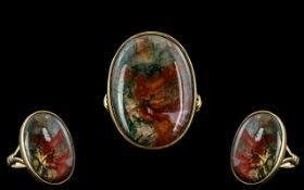 Antique Period - Pleasing 9ct Gold Oval Shaped Stylish Moss Agate Set Ring.