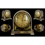 A Fine Quality Unusual Art Deco French Miniature Mantle Clock, with a domed top made from