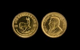 South African 1/10 Fine Gold Krugerrand - Date 1985, Mint Condition.