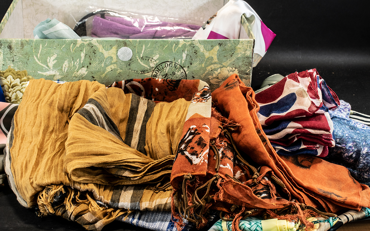 Collection of 27 Assorted Vintage & Modern Scarves, Wraps & Shawls, including Jacqmar, Cacharel, - Image 3 of 3