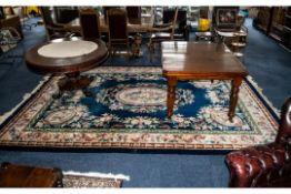 Large Wool Carpet/Rug, dark blue ground with coral/beige/green shades,