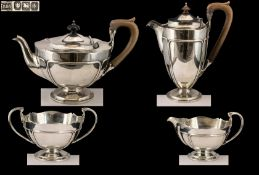 Arts And Crafts Design Superior Quality Sterling Silver ( 4 ) Piece Tea Service.
