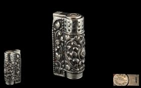 Silver Austrian Lighter. Silver Lighter Highly Decorated Throughout In Flowers and Foliage.