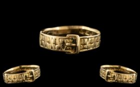 Victorian Period - Attractive Sweetheart 18ct gold Buckle Ring with Kisses Design to Sides.