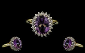 18ct Gold - Amethyst and Diamond Set Cluster Ring - Flower head Setting.