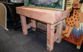 Pine Butcher's Block Kitchen Central Island Table, fitted on robust legs,