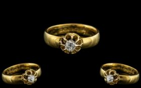 22ct Gold Attractive Single Stone Diamond Set Ring - Gypsy Setting. Diamond of Excellent Colour
