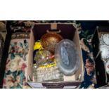 Collection of Glass Items, including oval rose bowl, Forbidden Fruit liqueur bottle, Lustre ware