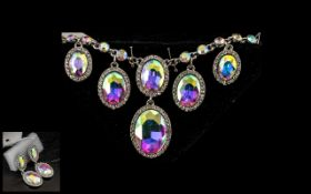 Aurora Borealis Crystal Drop Choker / Necklace and Matching Drop Earrings, oval shaped,