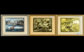 Three Lionel Barrymore Etchings, signed, titled 'San Pedro', 'Fishing Banks' and 'Seaworthy'.