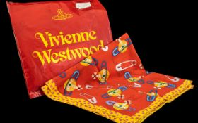 Vivienne Westwood Scarf, 21'' square, red cotton scarf in original bag, printed with a pattern of