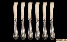 Silver Handled Kings Pattern Set of Six Knives, Fully Hallmarked for Silver. KIngs Pattern.