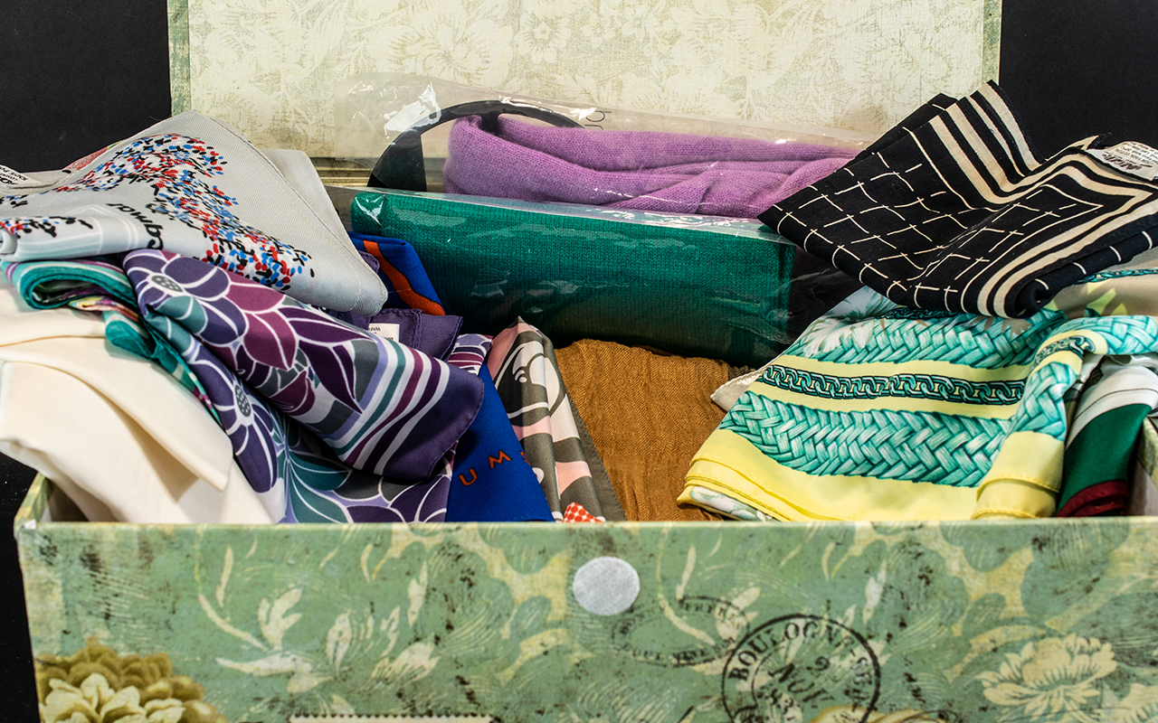 Collection of 27 Assorted Vintage & Modern Scarves, Wraps & Shawls, including Jacqmar, Cacharel, - Image 2 of 3