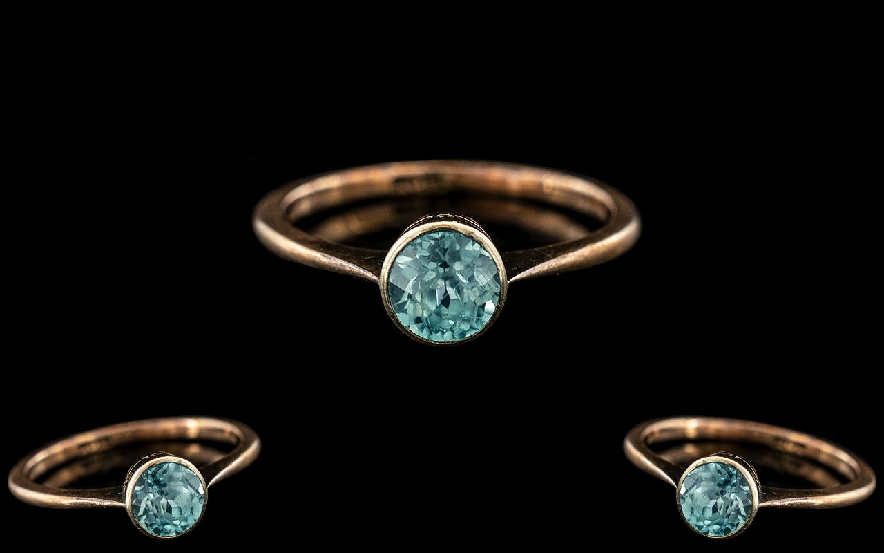 Antique Period - Ladies 9ct Gold Single Stone Aquamarine Set Ring. Marked 9ct to Interior of Shank.