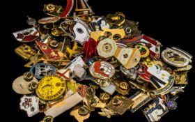 Large Collection of Enamel & Gilt Metal Lions Pins & Badges,