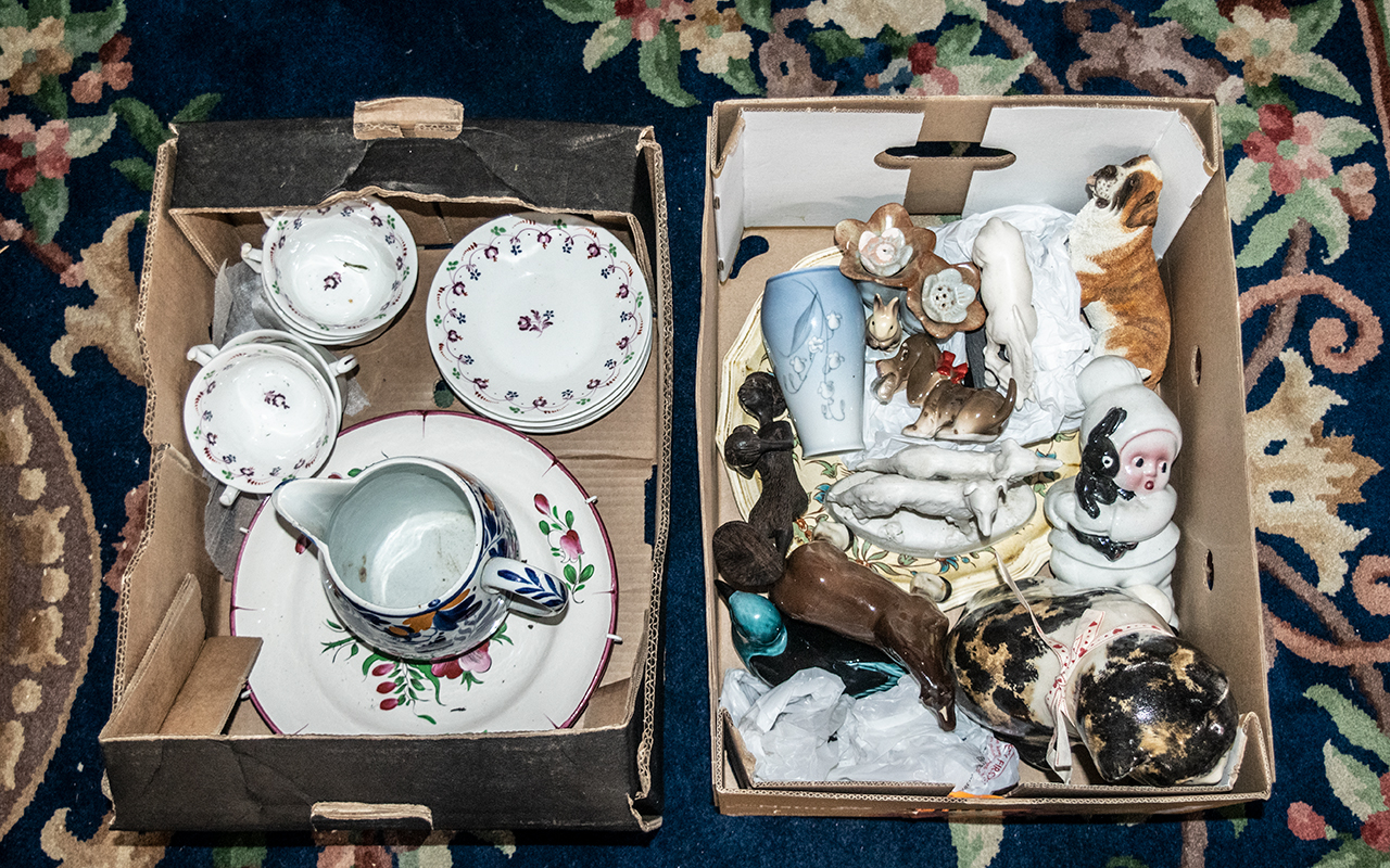 Two Boxes of Collectible Pottery & Porcelain, including Art Pottery cat, assorted porcelain and