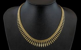 A Ladies Contemporary Design 9ct Gold ' Cleopatra ' Egyptian Revival Style Necklace.