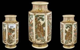 Satsuma Meiji Period Vase of Hexagonal Form with Painted Panels Depicting Samurai Warriors with