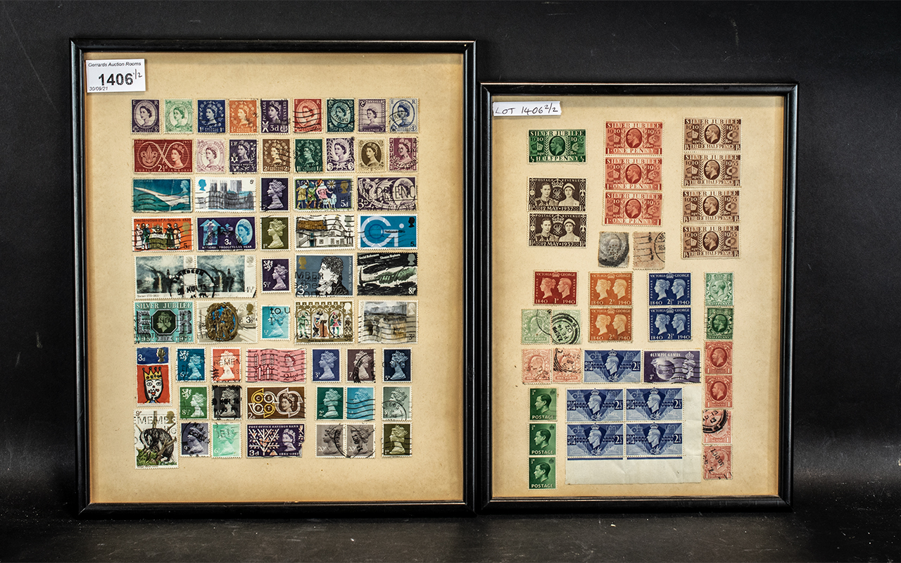 Two Glazed and Framed Stamp Sheets containing various GB stamps from silver jubilee 1935 to Queen