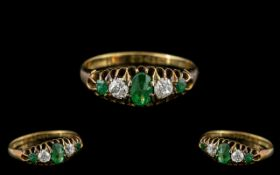 Antique Period - Attractive 18ct Gold 5 Stone Gallery Set Emerald and Diamond Ring.