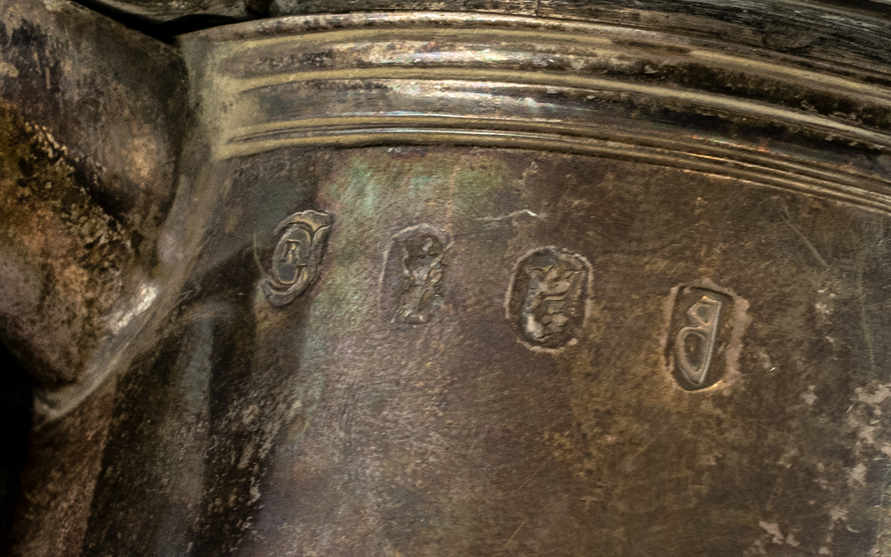 William III Silver Tankard By Richard Green, London 1697. Plain Tapering Cylindrical Body. Later - Image 4 of 5