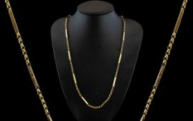 Fine Quality 9ct Gold Block and Belcher Designed Ornate Chain of Solid Construction and Good length.