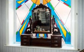 Victorian Table Top Mirror and Drawers, a mahogany mirror supported on six drawers with a larger,